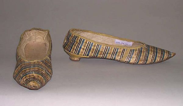 Slippers (image 1) | British | 1790s | leather, silk | Metropolitan Museum of Art | Accession Number: 1979.346.233a, b