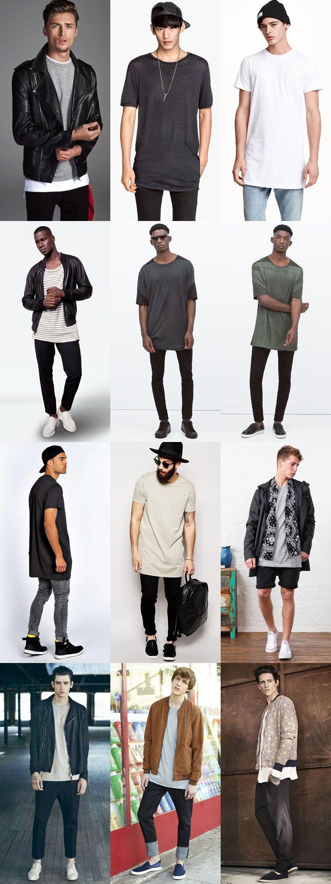 Men's Longline T-Shirts Outfit Inspiration Lookbook