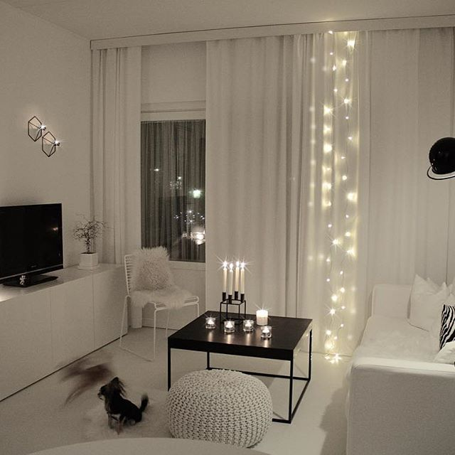 Living Room | Eclectic + Minimal   String Lights Behind Sheer Curtains With  Monochrome Decor