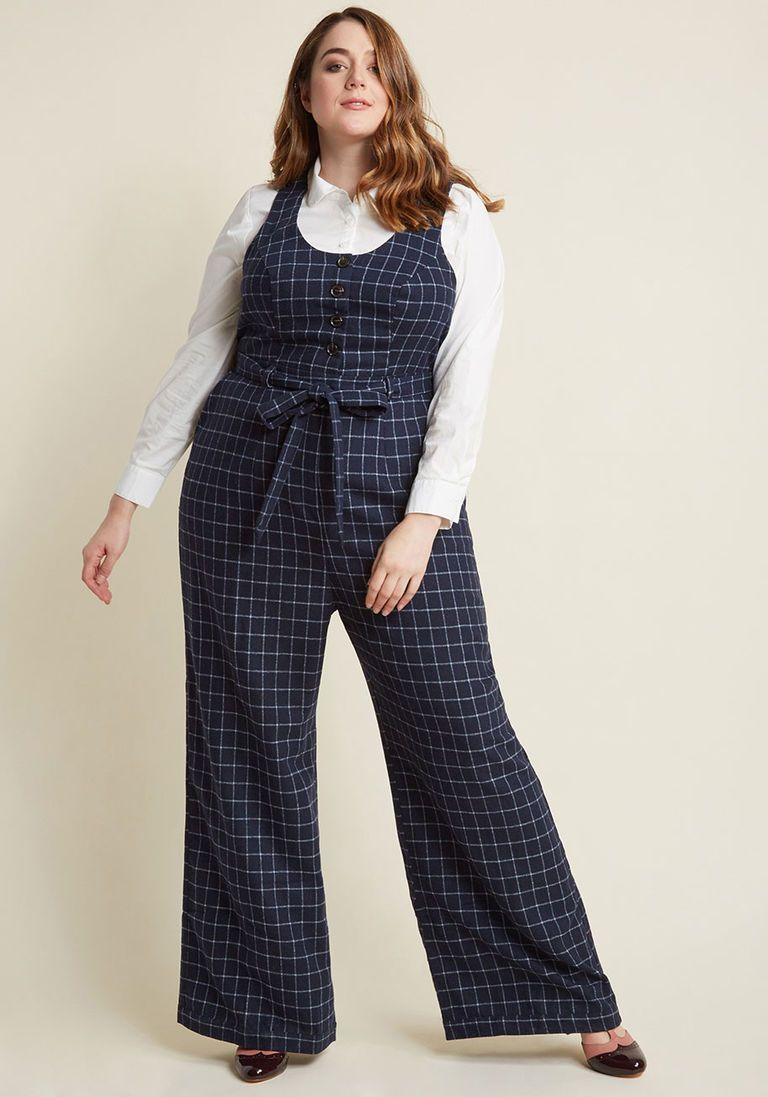c2491c7400b8 Buttoned Tailored Wide-Leg Jumpsuit in 3X - by ModCloth - Plus Sizes  Available