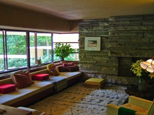 Falling Water Interior | Architecture Fallingwater Interior By Frank Lloyd Wright With L