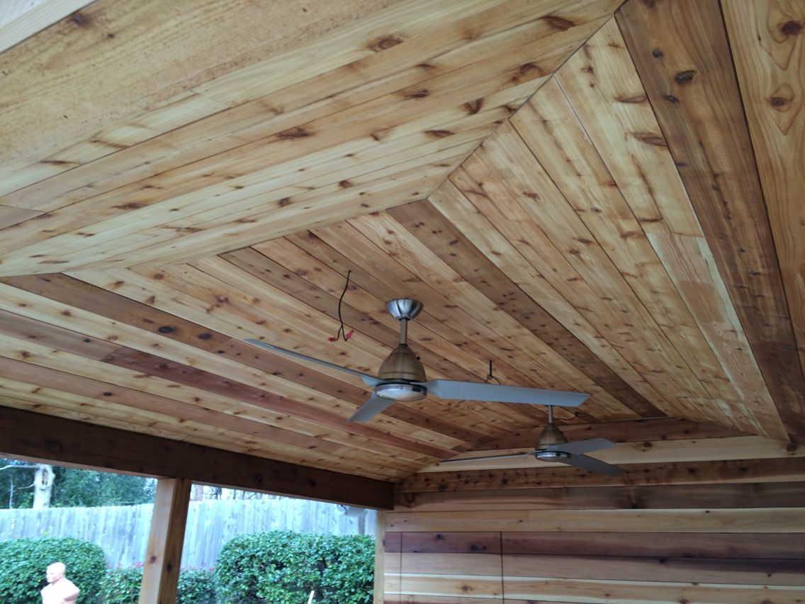 Cedar plank 1x6 wall and ceiling natural finish cool builds pinterest plank ceiling and for Cedar planks for interior walls