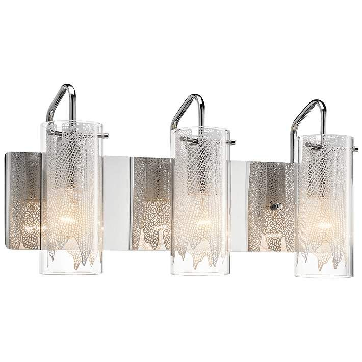Elan krysalis 19 3 4 wide chrome bathroom light vanity lightingbathroom lightingbathroom fixturesbathroom