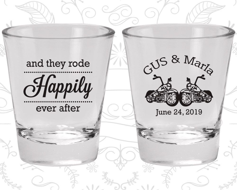 And They Rode Happily ever After, Shot Glasses, Motorcycles ...