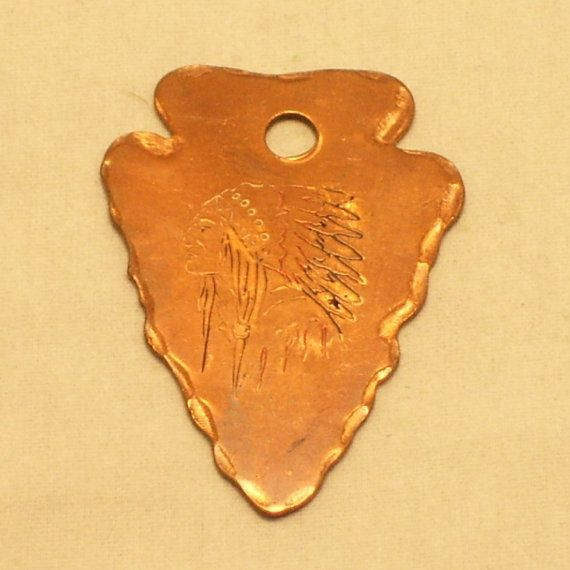 Vintage Copper Arrowhead Pendant Etched Indian Chief by SwaggerMan, $18.00