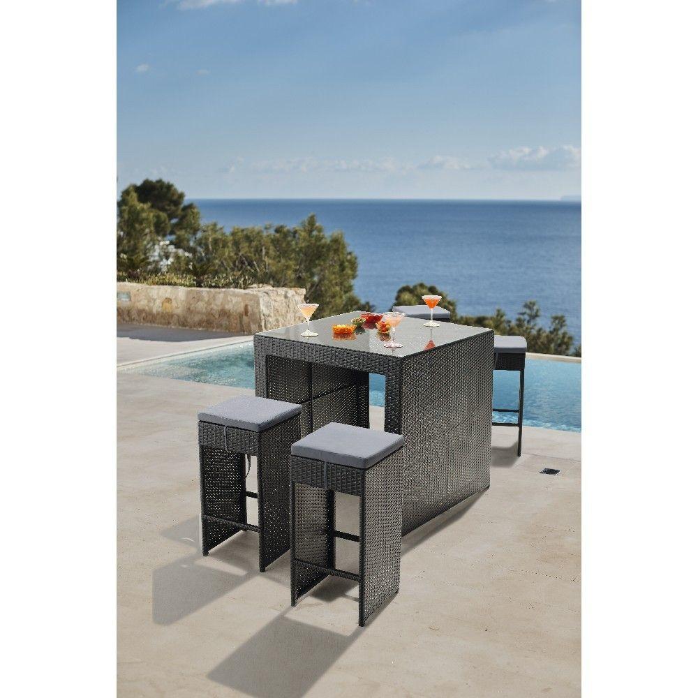 Ensemble de jardin table haute et 4 tabourets - Salon de jardin et ...