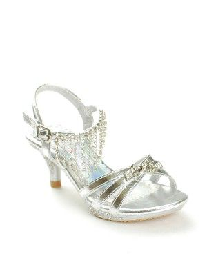 1e48d5359b Gorgeous looking girls kitten heel sandals with dazzling rhinestones  decorating the strap. Must item for pageants or any formal events.