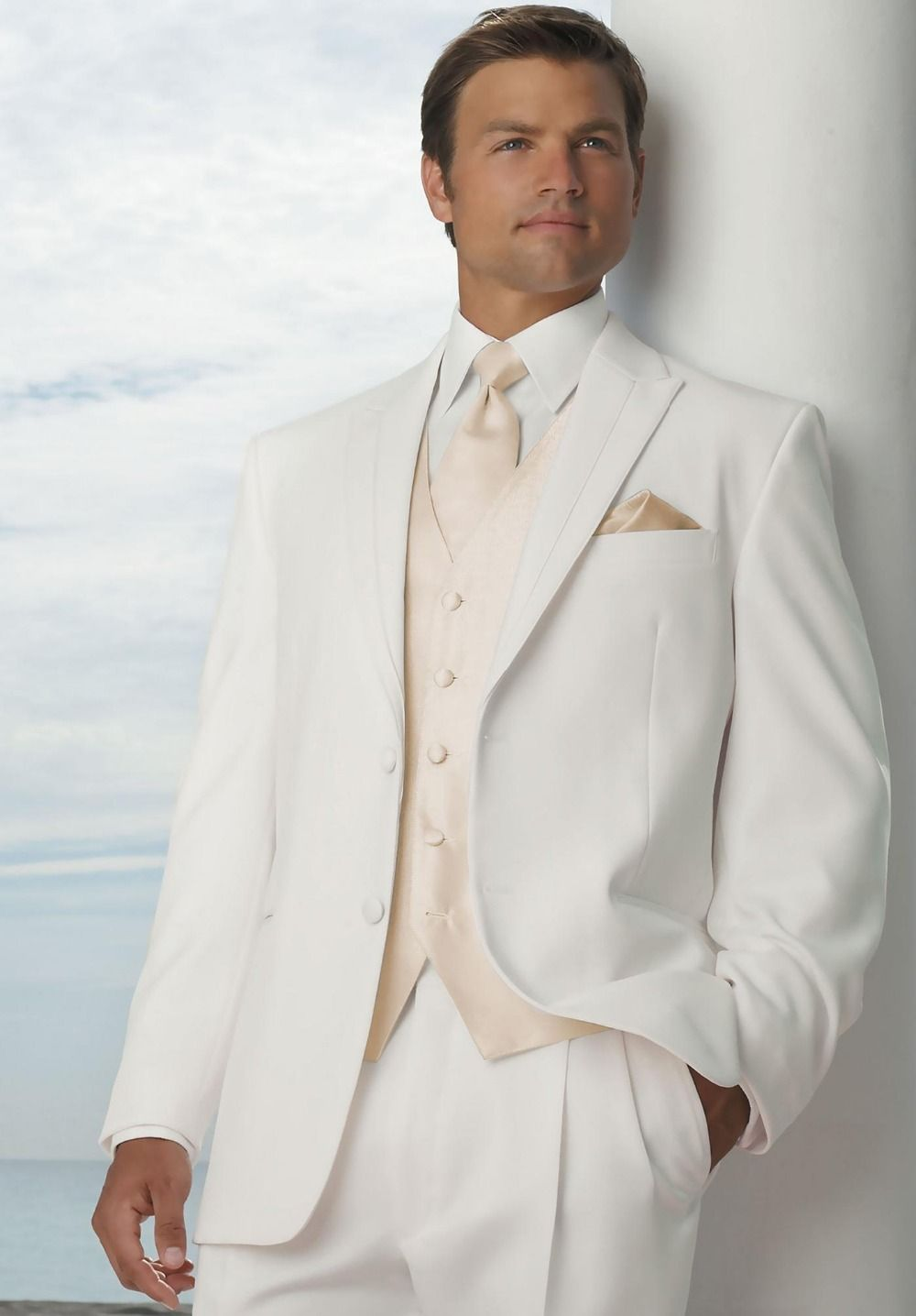 Click to Buy << Fashionable Two Button Ivory Groom Tuxedos Groomsmen ...