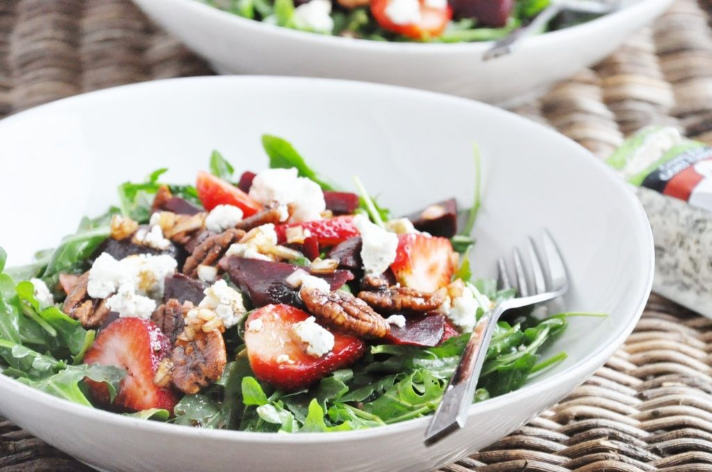 Beet Strawberry and Goat Cheese Arugula Salad (healthy