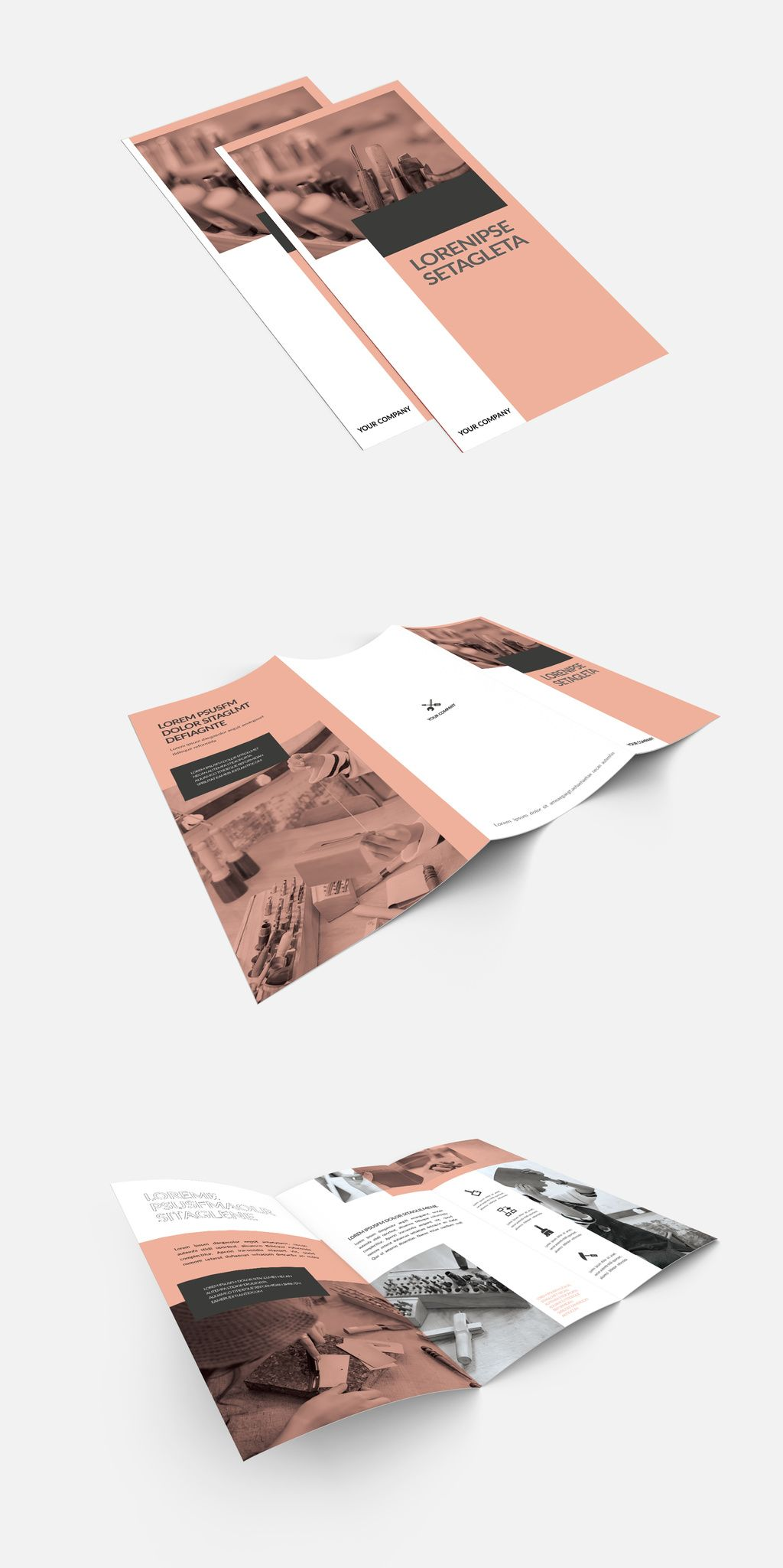 tri fold brochure layout with pink and gray accents comprar este