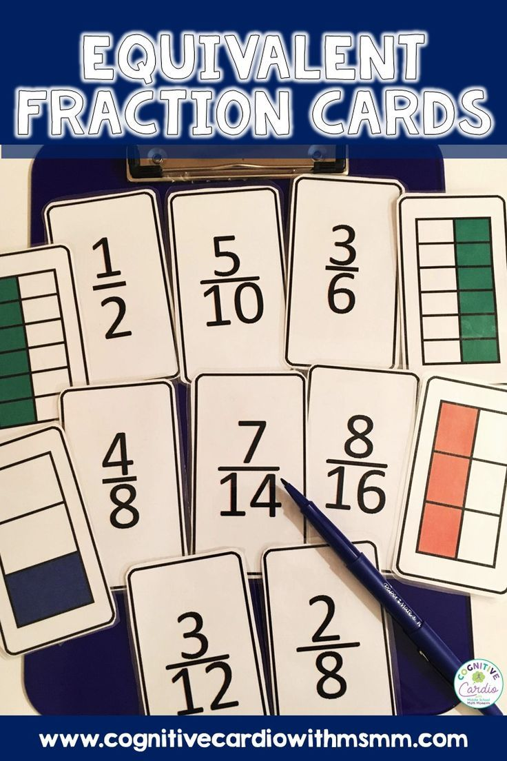 Equivalent fractions cards math games middle school