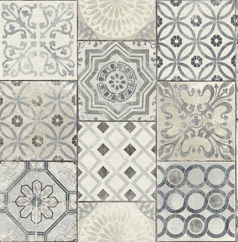 Rn71400 Patchwork Tiles Traditional Wallpaper Jaipur 2 Collection Stick On Tiles Patchwork Tiles Peel And Stick Wallpaper