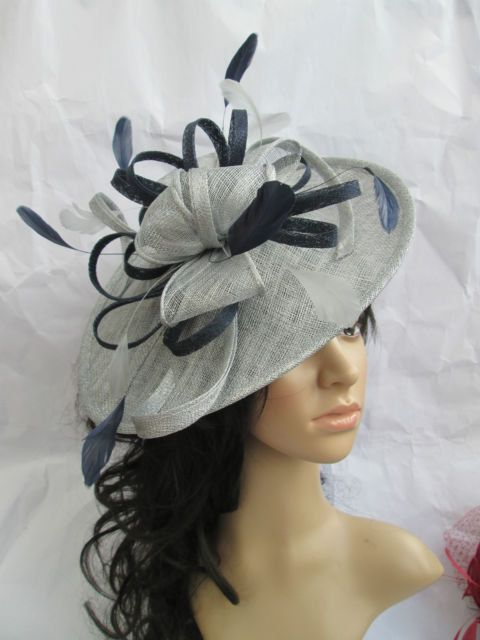 456a2c9349362 Silver Fascinator Hat with navy Blue trim by SpecialDayfascinator ...