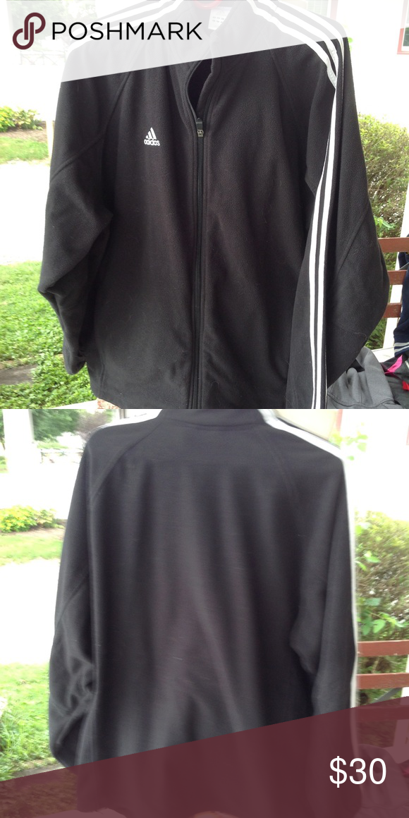 Mens Adidas fleece jacket. Size large, black and white, in good condition. adidas  Jackets   Coats 6490b5964e