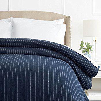 Pinzon 160 Gram Pinstripe Velvet Flannel Duvet Cover King Navy