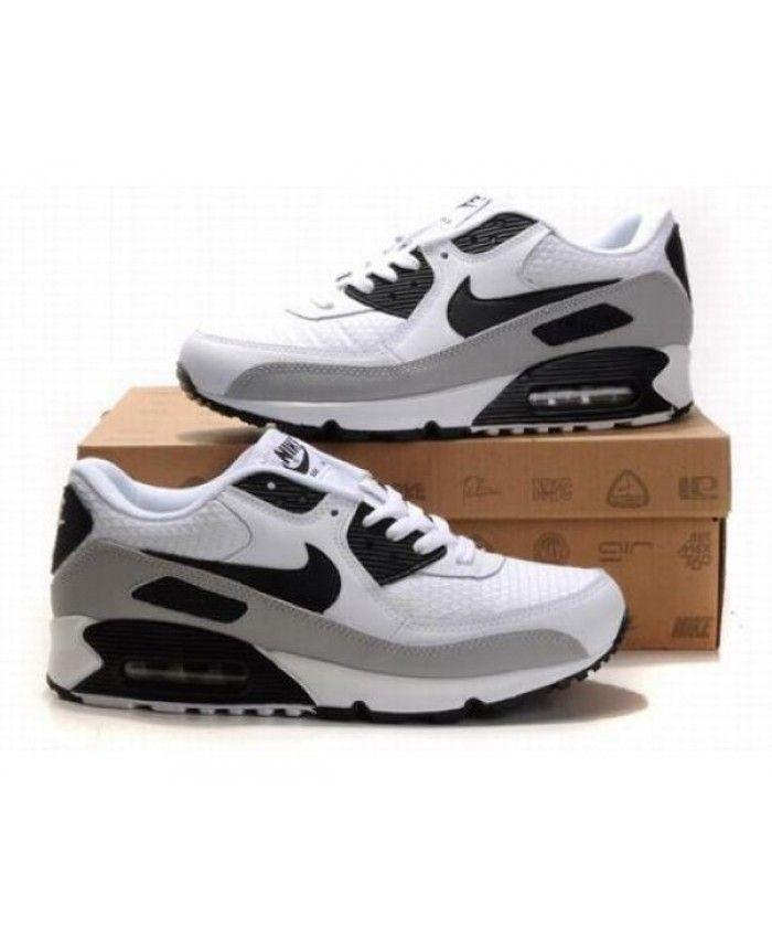 Mens Nike Air Max 90 White Grey Black 6809331-390 | Nike air ...