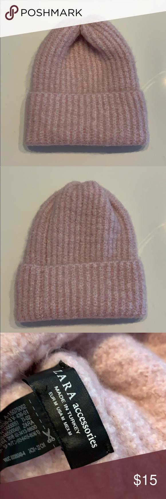 New Zara Pink Rose Beanie Hat One Size Beanie Hats Pink Rose Pink