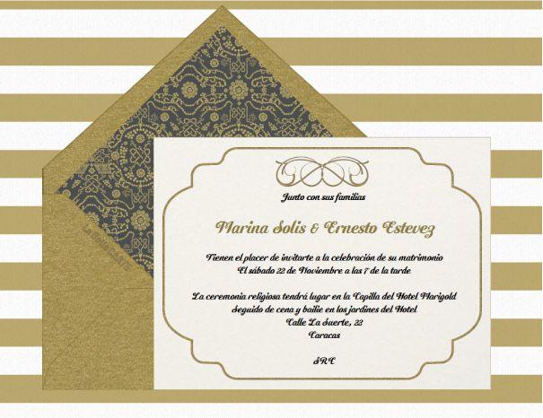 Invitaciones de boda doradas tarjetas de matrimonio - Modelos de tarjetas de boda ...
