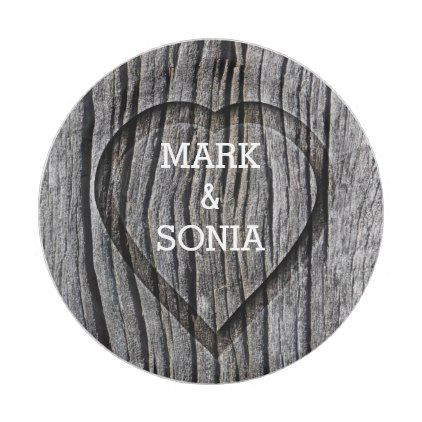 Carved Wood Heart Rustic Wedding Paper Plate | Wedding paper ...