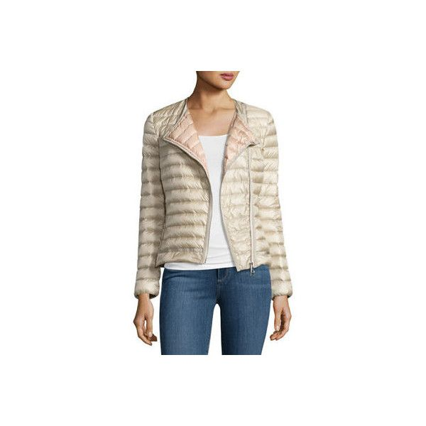 Moncler Amy Quilted Collarless Jacket ($995) ❤ liked on Polyvore featuring outerwear, jackets