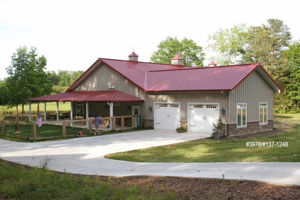 Projects morton buildings pole barn home shop house for Small metal barn homes