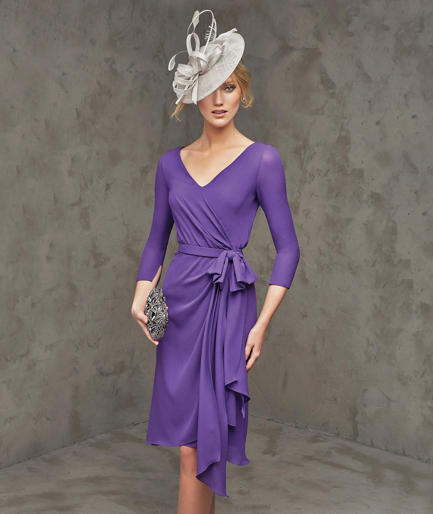 V Neck Knee Length Purple Chiffon Sheath Column Mother Of The Bride ...