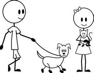 Man Walking With Dog Coloring Page Coloring Pages Stick Figure