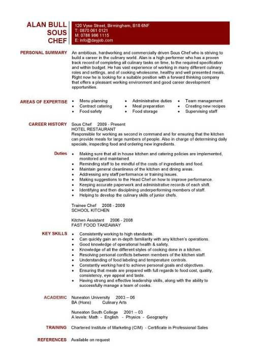 Management Resume Samples Chef Resume Sample Examples Sous Chef Jobs Free Template
