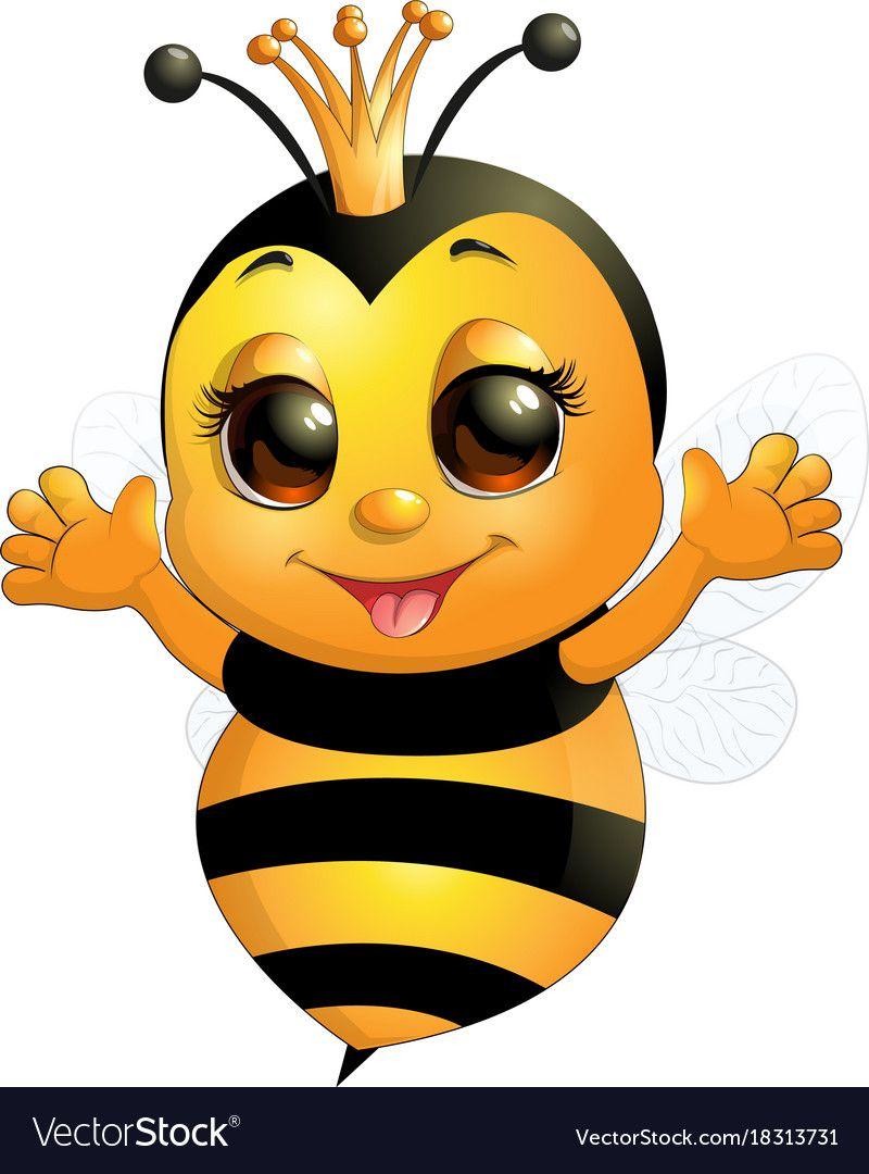 Beautiful cute bee vector image on cute bee bee drawing