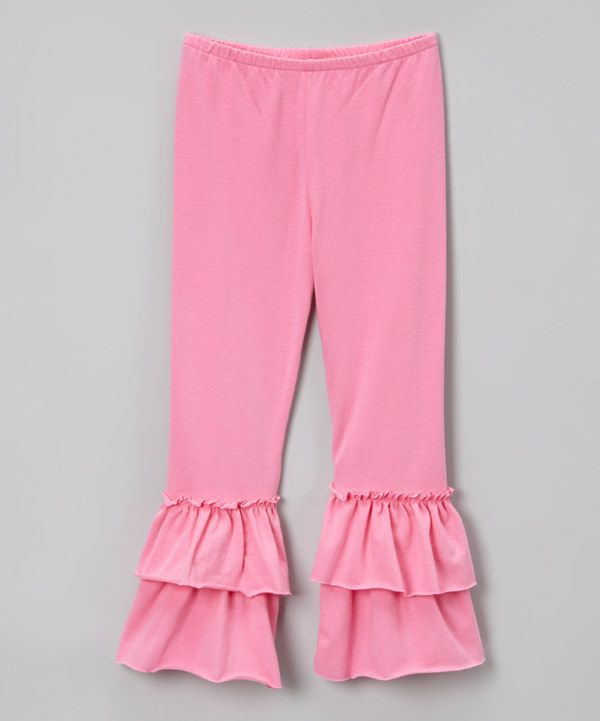 Look at this SILLY MILLY Pink Double Ruffle Leggings - Toddler & Girls on #zulily today!