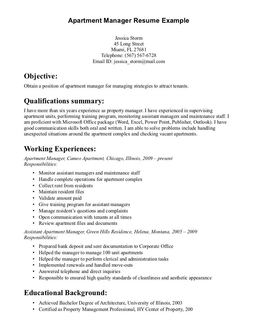 Resume Profile Examples Property Manager Resume Sample  Sample Resumes  Sample Resumes