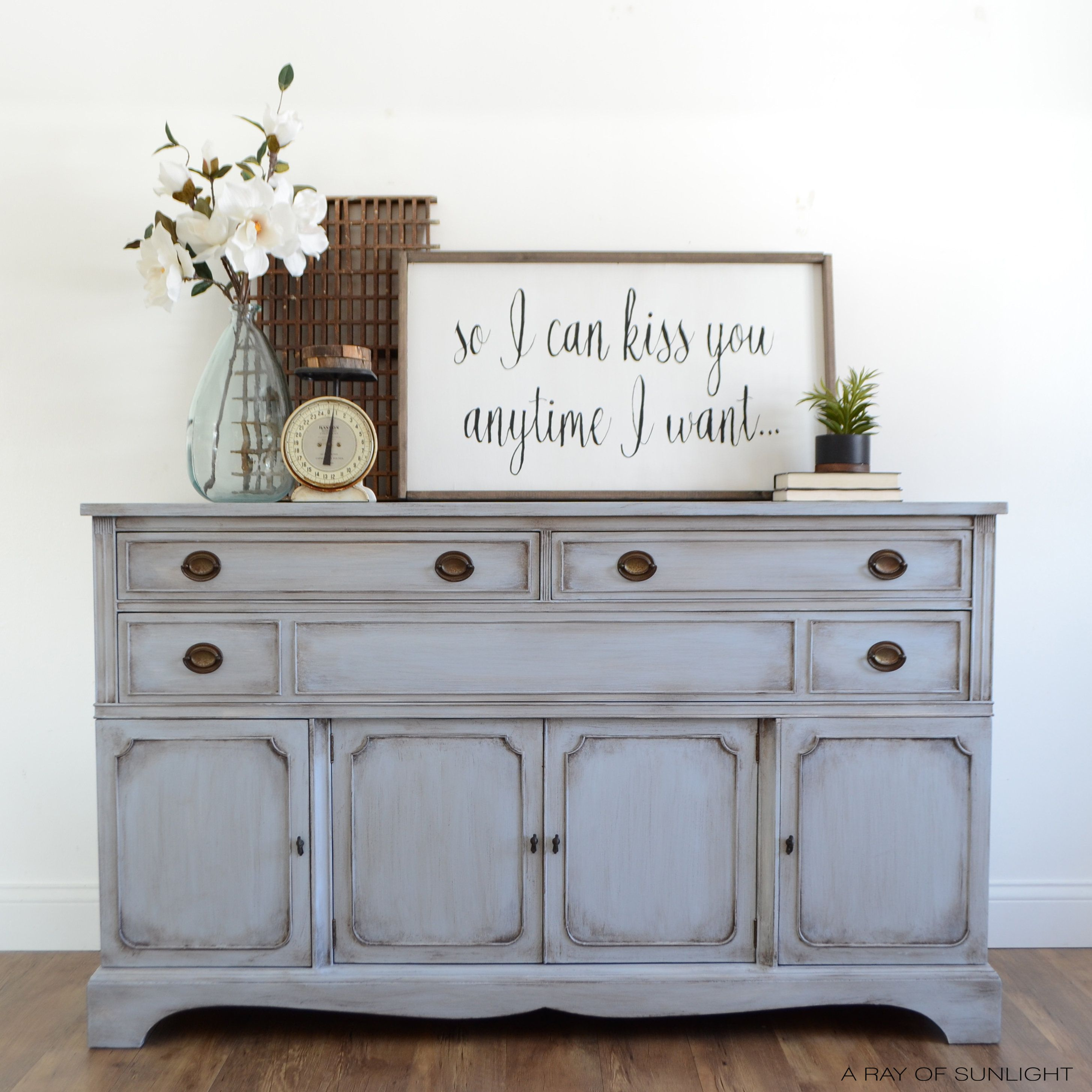 Blue buffet tv stand vintage buffet painted