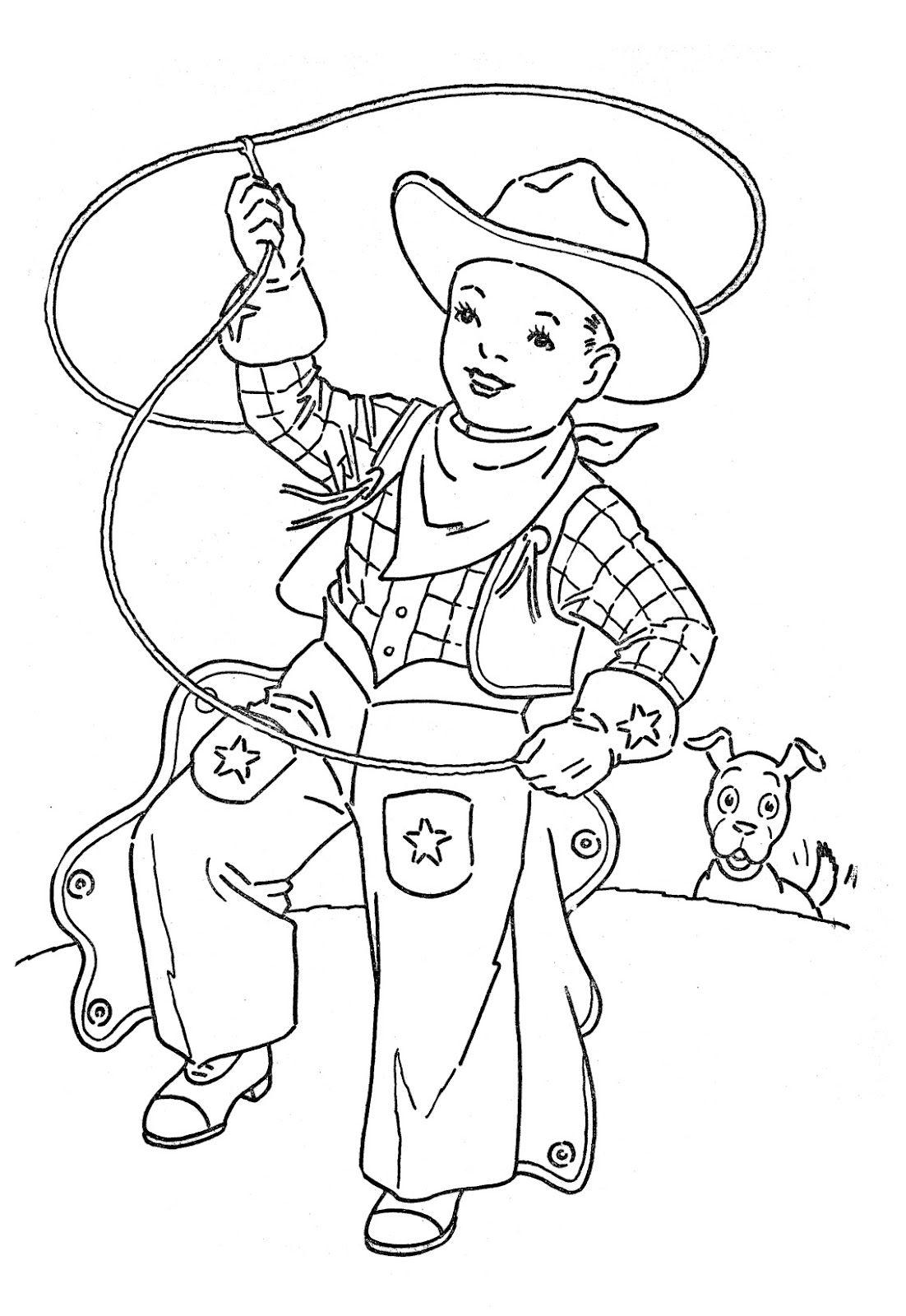 coloring book pages cowboys   Vintage Clip Art - Cute Lil Cowboy - Digi Stamp ...