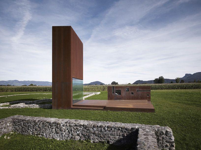 cor ten steel roman villa constructed by marte marte architekten
