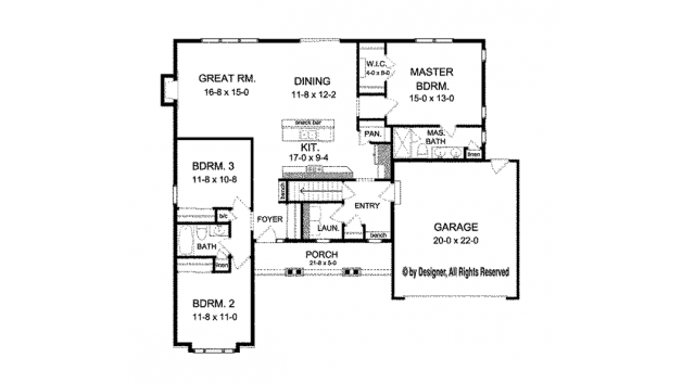 Home plan homepw76918 1601 square foot 3 bedroom 2 for Www homeplans com