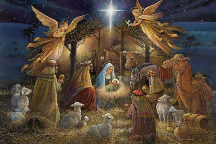'Nativity' Graphic Art Print on Canvas Christmas poster