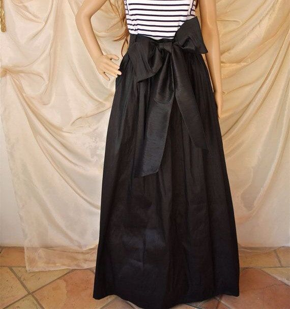 Hey, I found this really awesome Etsy listing at https://www.etsy.com/listing/177724785/black-maxi-skirt-with-sash-long-black
