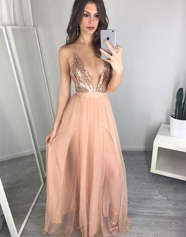 Blush pink V-neck sequins tulle long floor-length Prom Dresses Gown special high quality,cheap prom gown BD1705582