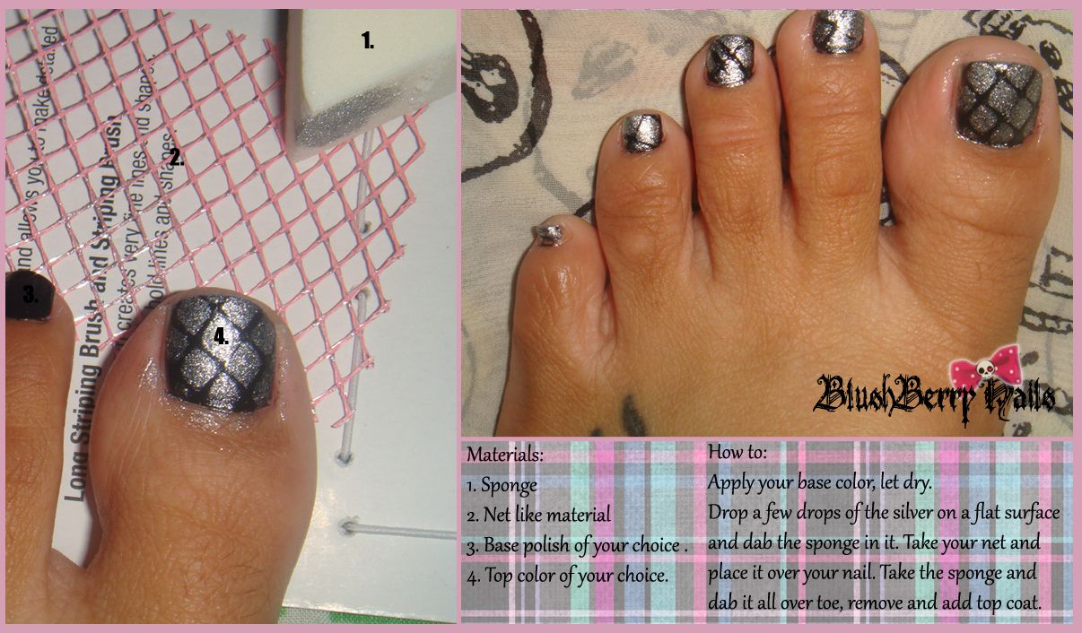 My Toe Nail Design Using Materials Lying Around Your House And If