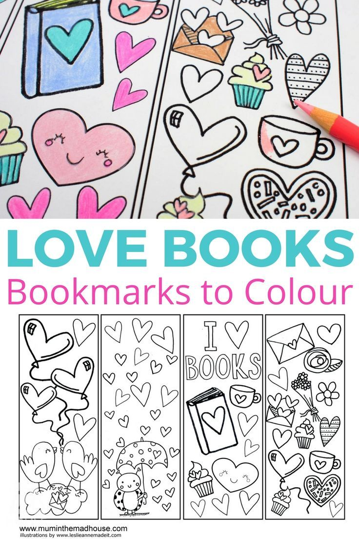 Love Books Free Colouring Bookmarks is part of Coloring bookmarks - Download your own Love Books free colouring bookmarks  These are perfect for any book lovers or fans of colouring and a great valentines card alternative