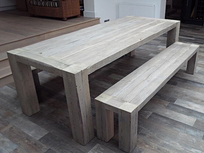 reclaimed wood grand bench  here in limed grey although we are going for  warm oak. reclaimed wood grand bench  here in limed grey although we are