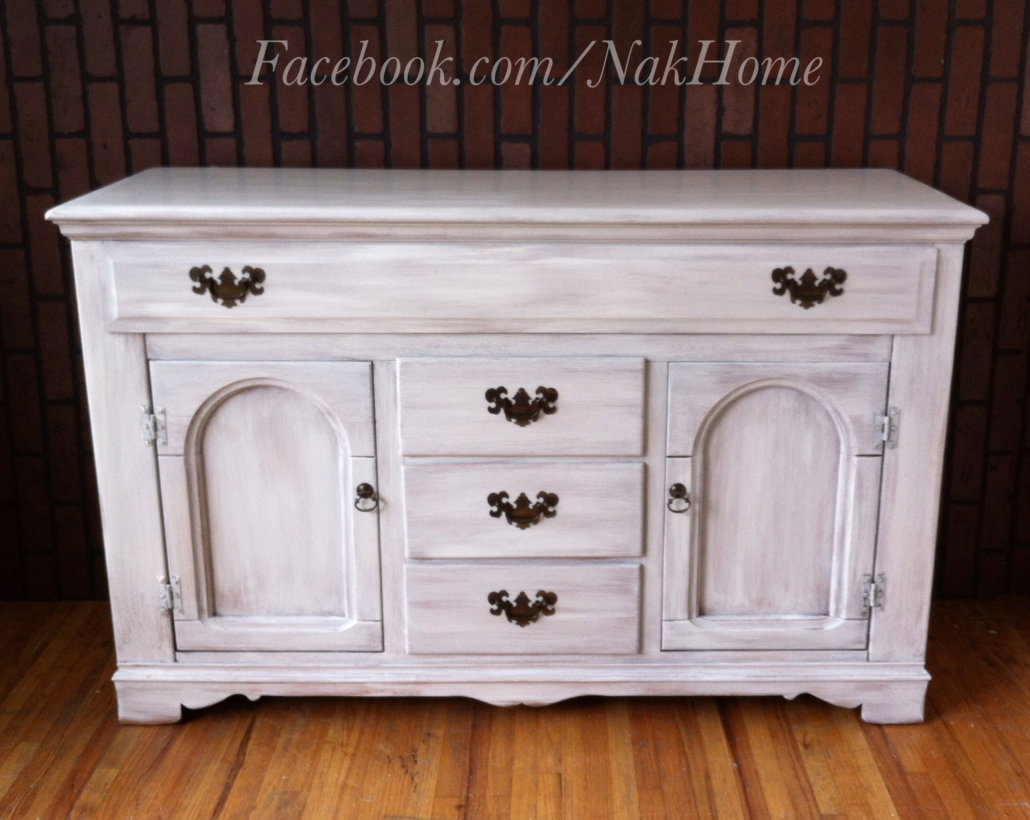 furniture makeover shabby chic white vintage buffet tv console cabinet hand painted with diy. Black Bedroom Furniture Sets. Home Design Ideas