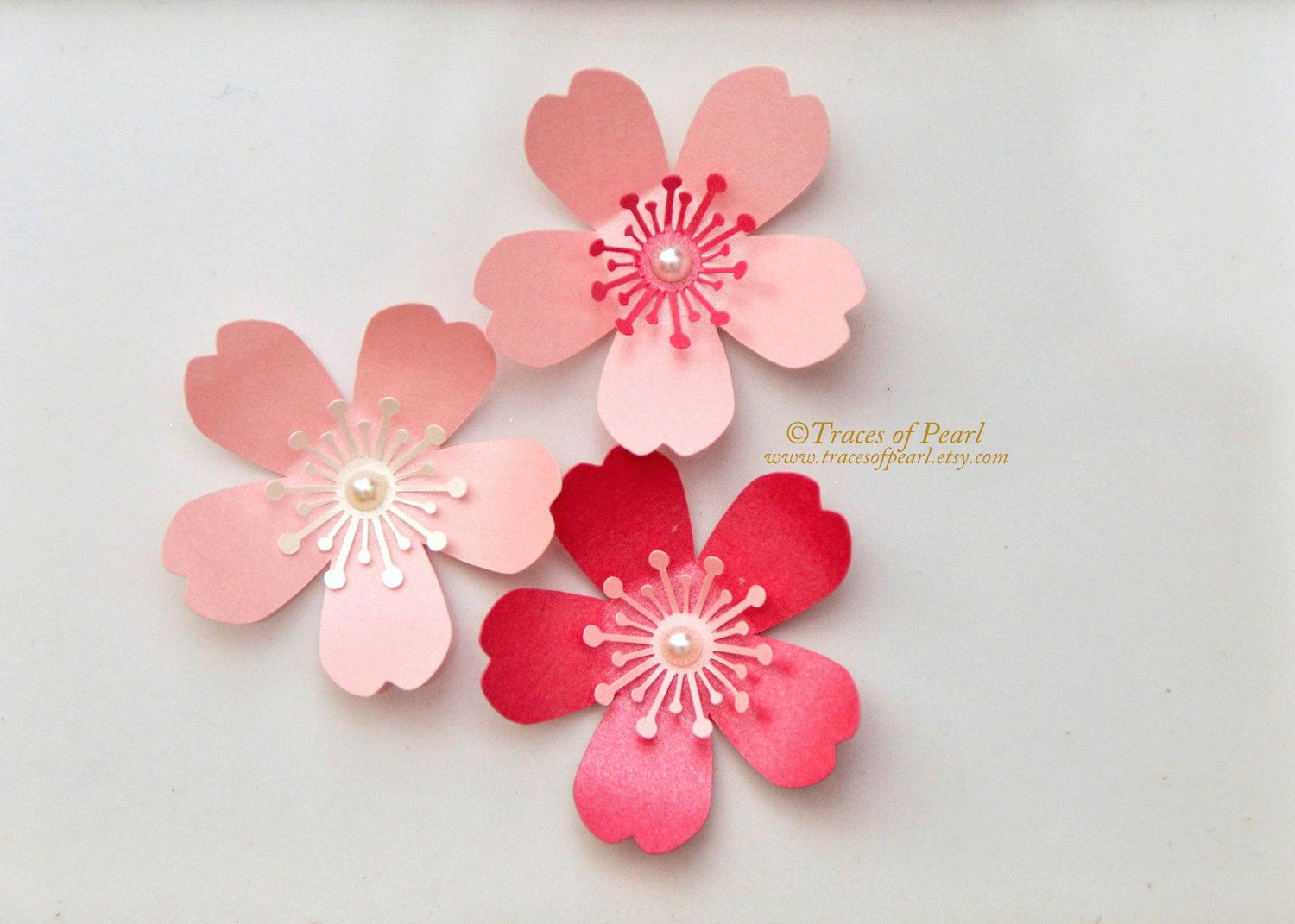 Cherry Blossoms Pearlescent Shimmer Paper Flowers 24 Pcs For Diy Party Decor Crafting Sprin Cherry Blossom Party Cherry Blossom Theme Paper Flower Template