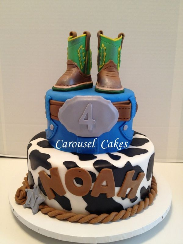 cowboy cake with john deere cowboy boots    western