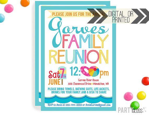 Family Reunion Invitation Digital Or Printed Summer Family