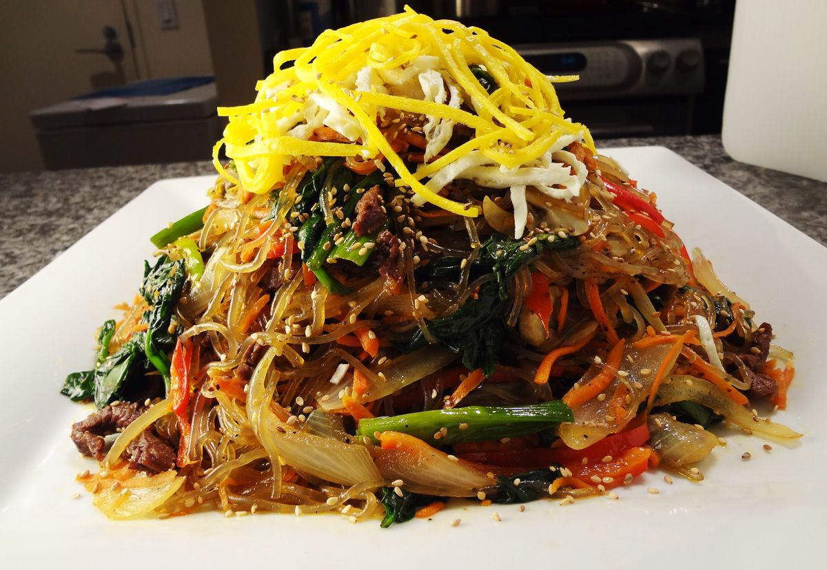 Japchae korean stir fried starch noodles with vegetables and meat japchae korean stir fried starch noodles with vegetables and meat korean cuisinekorean foodquick recipesbest forumfinder Gallery