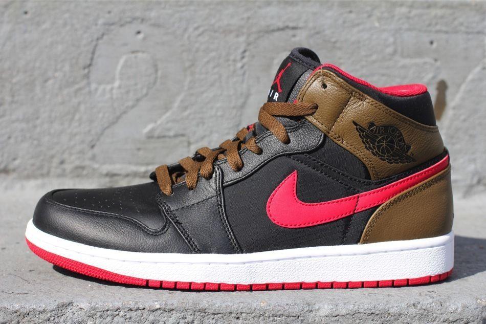 2013 Nike Air Jordan Retro 1 Phat SZ 11.5 Black Red Olive Ripstop OG 364770-040