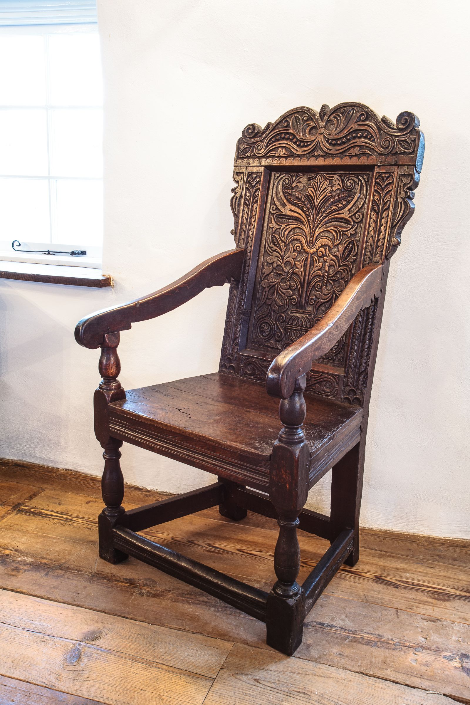 17th Century Carved Oak Armchair Marhamchurch Antiques