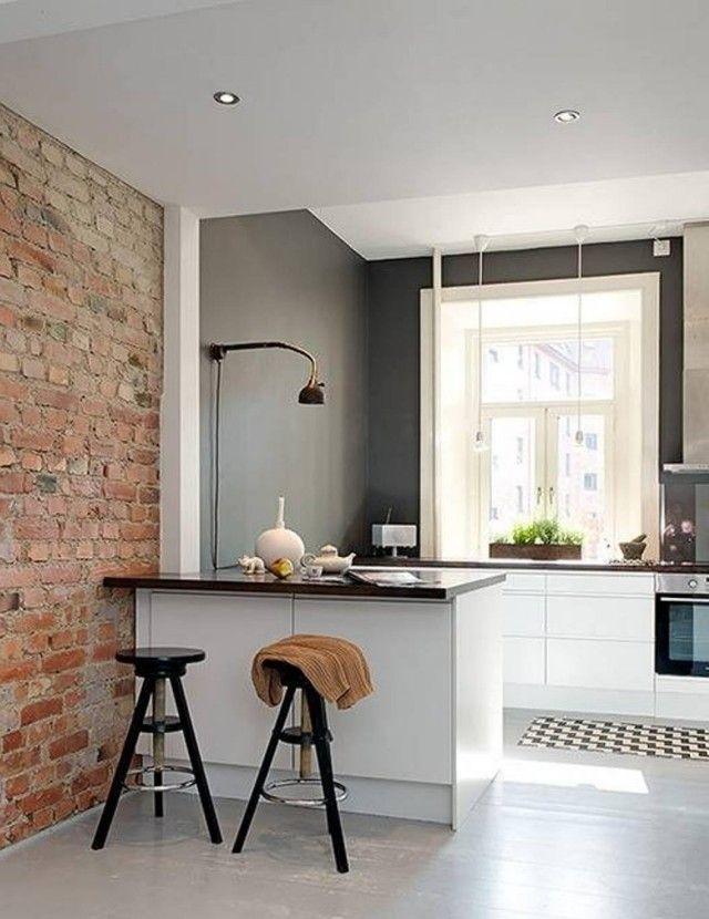 peinture cuisine 40 id es de choix de couleurs modernes peinture cuisine mur en brique et. Black Bedroom Furniture Sets. Home Design Ideas