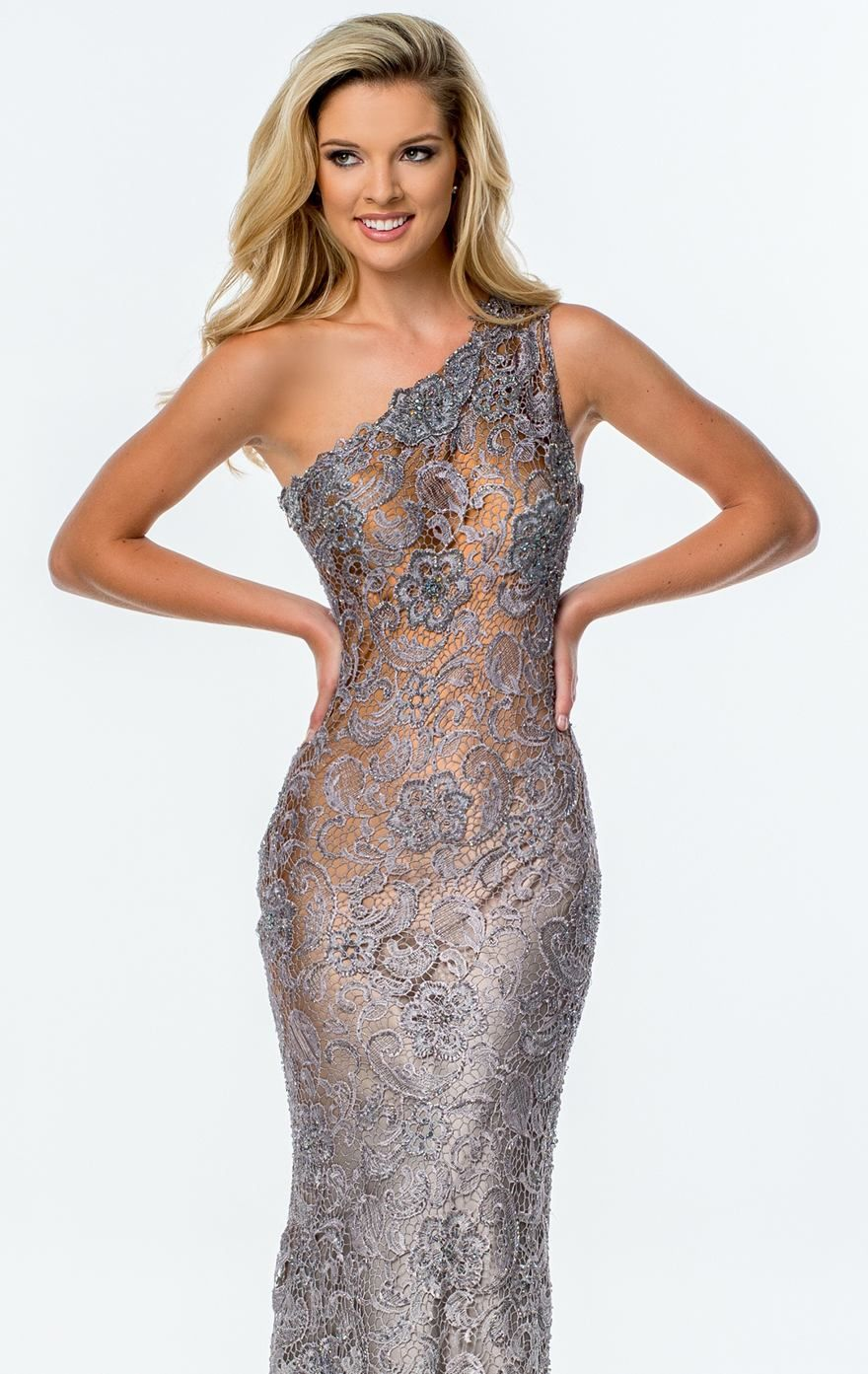 Beaded asymmetrical gown by terani couture evening hemline